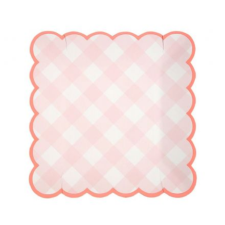 Pink Gingham Paper Plates - Small